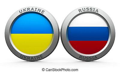 Confrontation UA RU - Emblems Ukraine and Russia are...