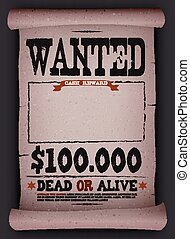 Wanted Vintage Poster On Parchment