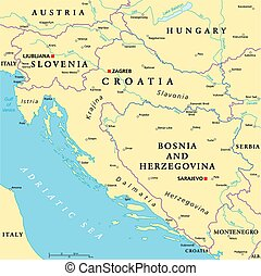 West Balkan Political Map formed by Slovenia, Croatia and...