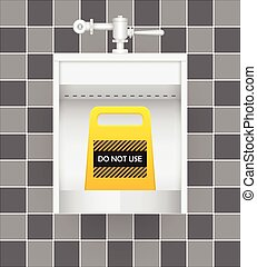 Urinal and warning signs with ceramics tile background.