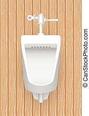 Urinal - Illustration of urinal with wood pattern background...