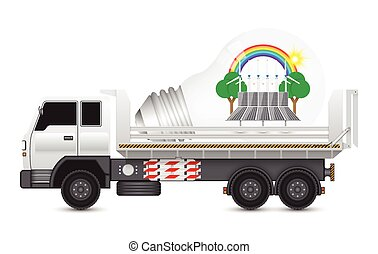 Alternative energy truck - Alternative energy and bulb on...