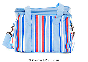 Striped lunch pack carrier on a white background