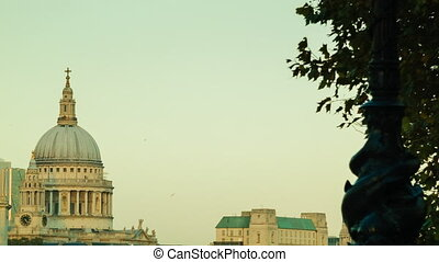 Bright sunset at St Pauls, London