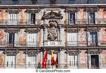 Facade of the old building on Plaza Mayor, Madrid, Spain