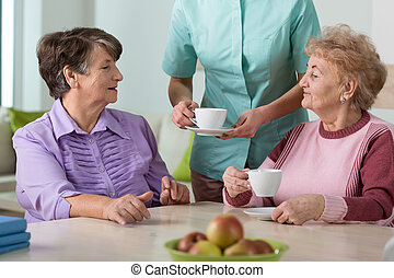 Senior residents of nursing home - Portrait of senior...