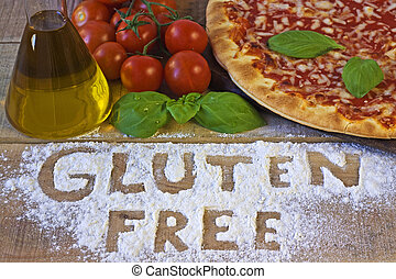 Um, gluten, livre, pizza, ligado, fundo,