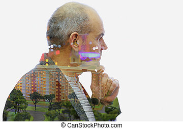 Thoughts architect Double exposure - Mature professional...