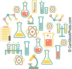 chemistry icons background for biology and medical research...