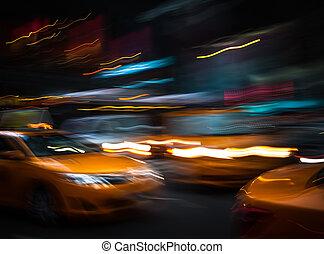 iluminación, y, noche, luces, de, nuevo, York,...