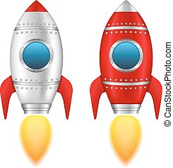 Rockets - Two rockets with flame, vector eps10 illustration
