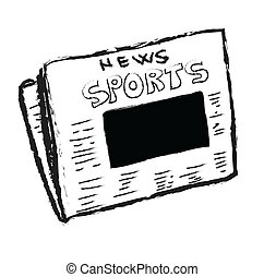 sports news with blank photo - Cartoon sports news with...