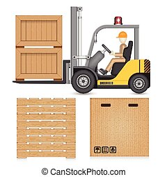 Forklift crate - Illustration of forklift and industry...
