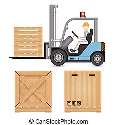 Forklift - Illustration of forklift and industry object...