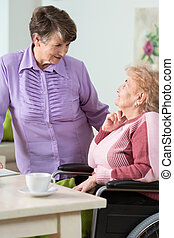 Senior woman using wheelchair and her sister