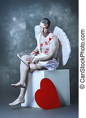 abstruse - Male angel Cupid with a bow and arrows of love....