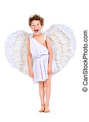 boy angel - Full length portrait of a lovely emotional...
