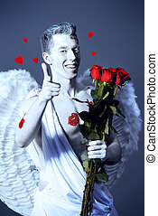 inspired - Inspired, romantic man-angel with a bouquet of...