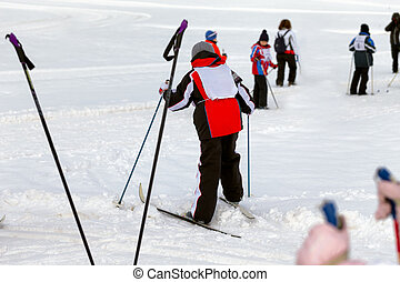 Cross-country Skiing - Group of children cross-country...