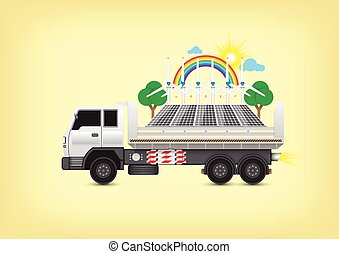 Alternative energy on truck with yellow background.