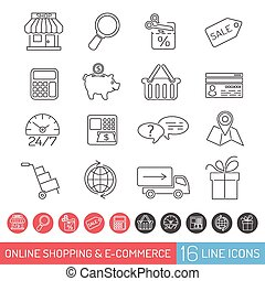 Shopping Line Icon Set - Internet Shopping Icon Set for...