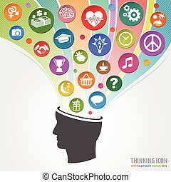 Thinking Head Icon - Set of Thinking Icons appearing out of...