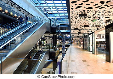 shopping mall - modern bright shopping mall indoor...