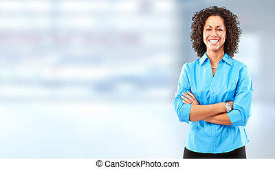 Business woman. - Young smiling business woman over blue...