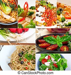 healthy Vegetarian vegan food collage nested on white frame