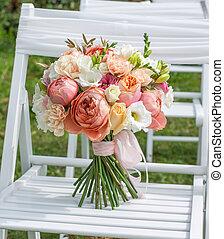 bridal bouquet - Bridal bouquet white, pink, orange.