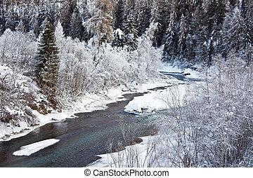 Frozen river. Winter landscape near Scuol, Switzerland