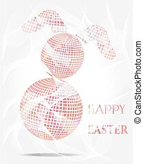 Isolated, pink easter bunny with text Happy Easter