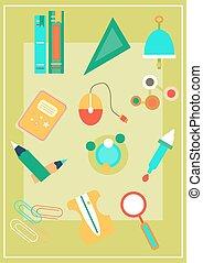 School supplies - Modern, colorful school supplies on green...