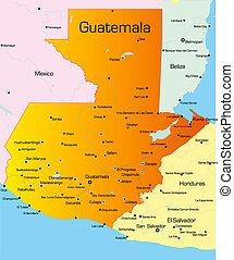 guatemala - color map of guatemala country