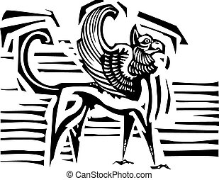 Winged Griffin - Woodcut style image of mythological winged...