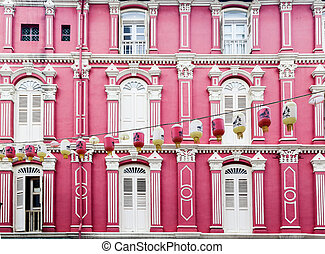 Colorful Chinatown Architecture of Singapore - Pink...