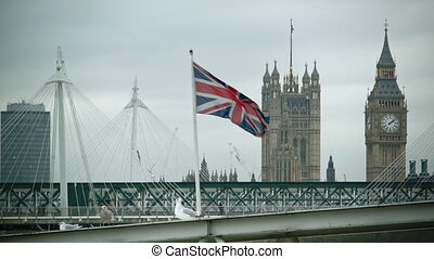 British waving Flag with Big Ben