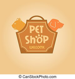 Logo with animals for pet shop. Cat and dog. Cat and dog in the bag-carrying
