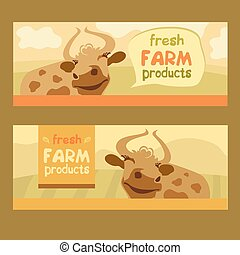 Fresh farm products. Happy cow on meadow. Editable banner. Rustic natural products.