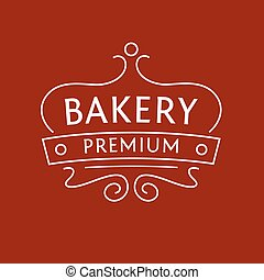 Logo for the bakery on red-brown background The stylized...