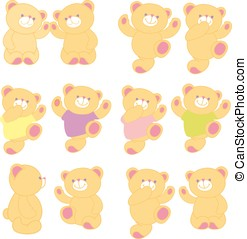 Vector illustration of teddy bear in different pose. Set.