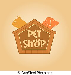 Logo with animals for pet shop. Cat and dog in the house. Vector logo,  label