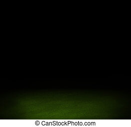 Black dark wall and Green floor interior background