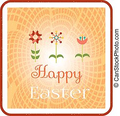 Card with colorful flowers and text Happy Easter - Beatiful,...