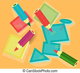 School supplies - Modern, colorful, school supplies on...