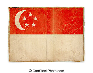 grunge flag of Singapore - dirty weathered flag of...