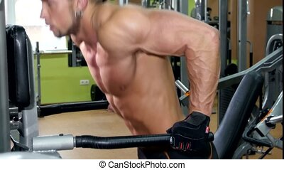 Muscular sportsman doing exercises for his hands in the gym,...