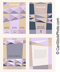 Set of corporate templates for catalogs, brochures, flyers series. Space for image and text. Geometrichnsky pattern of tregolnikov, pyramids. Shades of purple, blue and beige