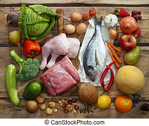Paleo diet products - Various Paleo diet products on wooden...