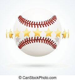Vector illustration of baseball leather ball with golden stars